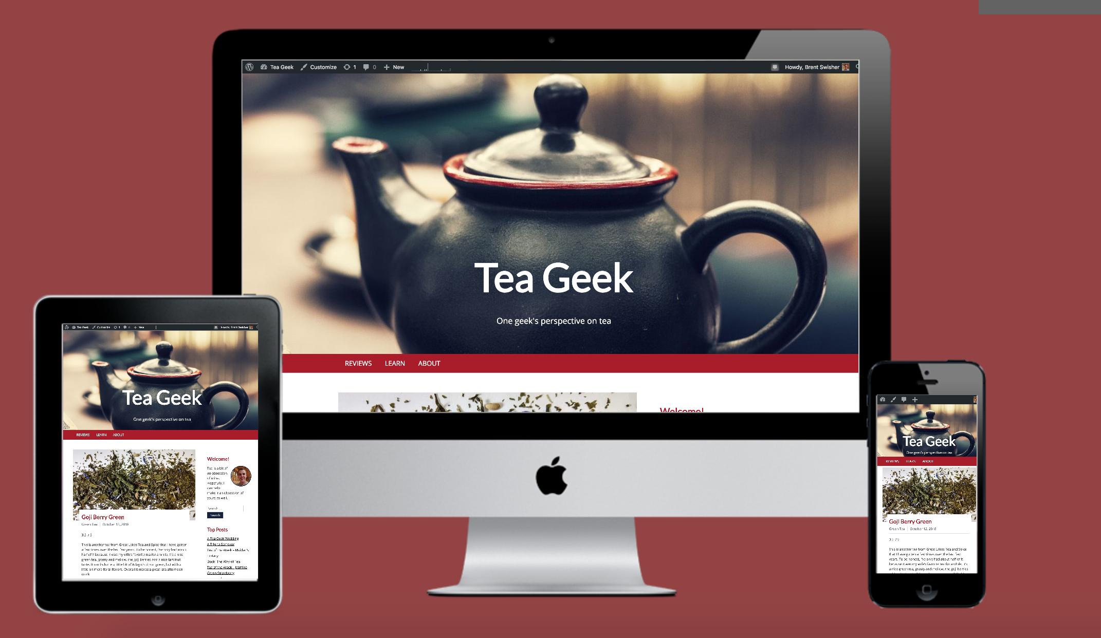 Screenshots of teageek.blog